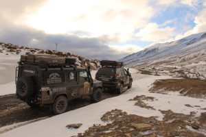 Mountain pass in Morocco - Overlanding in the mountains. Defender 110 and Landcruiser 120 or GX470