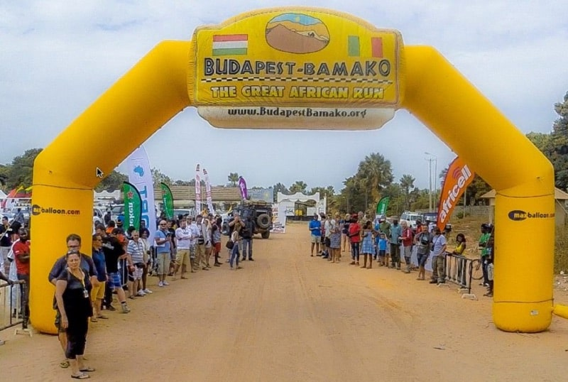 Overlandsite approaching the finish line of the Budapest Bamako Rally