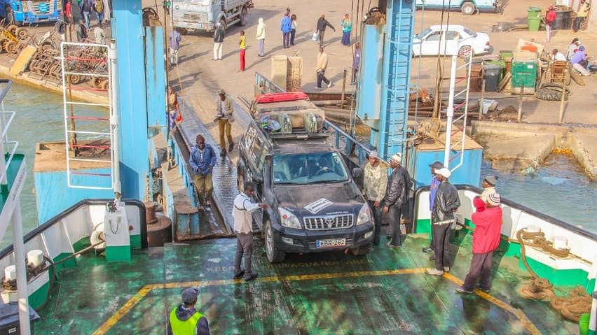 Toyota LandCruiser boarding the ferry in The Gambia