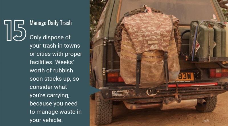 eco friendly overlanding trash managementtrash