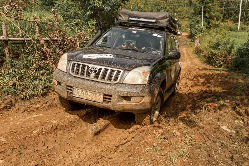 mud driving in Laos
