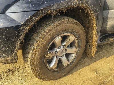 road tires in mud