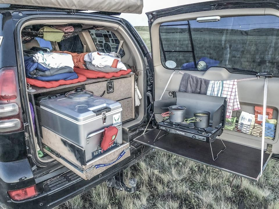 primus stove with engel fridge for overlanding